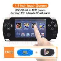 8 GB 4,3 pulgadas pantalla táctil portátil consola de Video juegos construir en 1200no-repeat juego para PS1/Arcad/flash/gba/fc/gbc/smd/sfc MP3/4