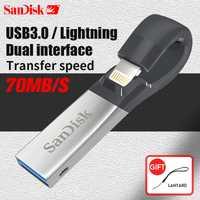 SanDisk Pen Drive 32 GB SDIX30N USB Flash Drive 64 GB USB 3,0 OTG relámpago Memory Stick Mini Pendrives para iphone ipad y PC 32G