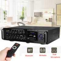 Amplificador de Audio Digital inalámbrico de 220-240V 2000W amplificador de Karaoke estéreo bluetooth de 4ohm 2 entrada de micrófono FM RC amplificador de cine en casa
