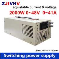 2000 W fuente de alimentación de conmutación 48 V 40A voltaje de salida ajustable 0-48VDC corriente ajustable 0-40A, CA a CC potencia de laboratorio