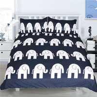 Juego de ropa de cama de 3 piezas estampado de elefante azul hogar textil funda de cama de edredón suave cómoda funda de almohada de alta calidad