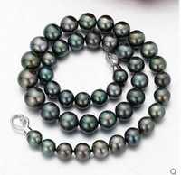 Popular collar de perlas negro tahitiano de 10-11mm de 18 pulgadas