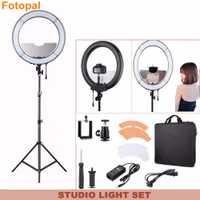 Fotopal regulable 240 LED iluminación fotográfica anular Cámara foto estudio Video teléfono anillo de luz trípode espejo para maquillaje