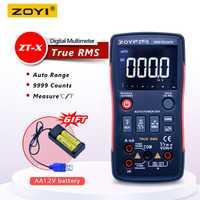 ZOYI multímetro Digital de verdadero botón 9999 cuenta con analógico bar gráfico NCV multi de AC/DC voltímetro amperímetro, Auto/manual