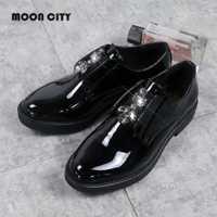 2019 nuevo estilo de mujer Zapatillas de plataforma mujer Oxford zapatos de marca zapatos de mocasines señora patente calzado de cuero negro Casual pisos de las mujeres