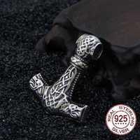 Real 925 Plata de Ley vikingo Lobo thor martillo colgante collar con realmente cuero y caja de hierro como regalo