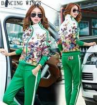 Plus tamaño L-5XL chándal de dos piezas trajes de las mujeres Top de manga larga y pantalones largos otoño estampado Floral moda las mujeres ropa deportiva