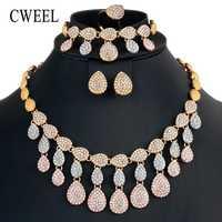 CWEEL joyería nigeriana boda Africana cuentas de joyería conjunto para las mujeres imitación cristal joyería Dubai joyería