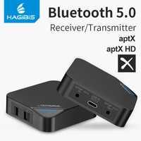 Hagibis Bluetooth 5,0 transmisor receptor de 2 en 1 aptX inalámbrica HD de Audio de 3,5mm AUX/SPDIF/tipo- C para TV/auriculares/coche/PC