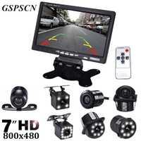 GSPSCN coche Auto asistencia visión de noche de marcha atrás de reserva de coche cámara de visión trasera con 7 pulgadas LCD vídeo retrovisor del coche monitor