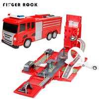 Roca dedo Deluxe fuego del motor del camión con música Deformación de aleación de coche de pista, juguete educativo de coche para niños