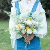 PEORCHID nuevo diseño de diente de león de la boda Artificial Ramos Sztuczny Bukiet blanco Salvia verde de novia sosteniendo con las manos flor 2019