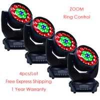 [4-paquete 19x12 W 4in1 anillo Led Control lavado Zoom mover la cabeza de luz para etapa DJ Club fiesta evento mostrar lámpara de efecto de la boda
