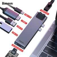 Baseus USB tipo C HUB C a HDMI RJ45 Ethernet USB Multi 3,0 Thunderbolt 3 Power adaptador para MacBook Pro aire USB-C muelle divisor