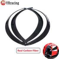 VR RACING-4 piezas de fibra de carbono coche guardabarros arco rueda ceja Protector/guardabarros pegatina Universal VR-CFF02