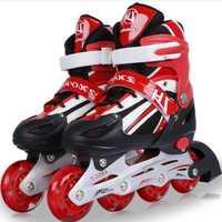 Chico de patines de ruedas zapatos atléticos de zapatos para niños Material de la PU zapatos de patinaje todas las ruedas Flash L348OLF