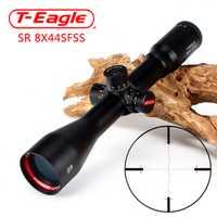 Camiseta águila SR 8X44 SFSS caza visores Side Parallax vidrio grabado retículo torretas restablecer bloqueo fijo ampliación 8X alcance