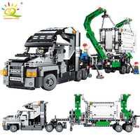 1202 piezas contenedor camión vehículos bloques Compatible legoingly técnica coche bricolaje ladrillos juguetes educativos para los niños