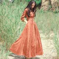 HAMALIEL Vintage solo Breasted Big Swing mujeres vestido otoño PANA manga tres cuartos Retro largo Maxi Delgado