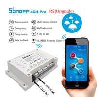 Sonoff 4CH Pro Smart Home Wifi interruptor de luz 4 Gang casa inteligente temporizador Módulo de automatización sistema trabajar con Amazon alexa