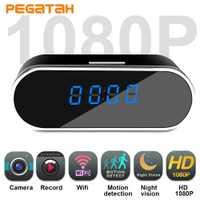 Nuevo HD1080P Mini cámara WIFI Cámara del reloj de alarma de tiempo P2P detección de movimiento de visión nocturna Monitor remoto inalámbrico IP Micro Cam