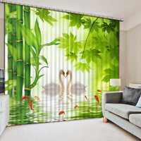 3D Cortinas lago Swan Cortinas para cocina salón baño ventana cortina