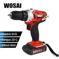WOSAI 20 voltios eléctrico de la batería de litio de taladro inalámbrico de mano taladro eléctrico recargable de La herramientas destornillador controlador de potencia