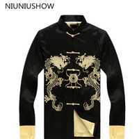 Nueva llegada negro chino hombres seda Saint chaqueta seda satén abrigo Hanmade dragón bordado Tang traje talla grande 3XL