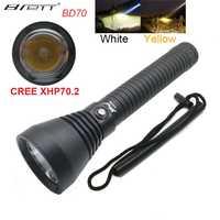 LED Tactical Linterna de buceo 4000 lúmenes CREE XHP70.2 LED Linterna antorcha bajo el agua 100 M impermeable Linterna de caza
