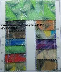90x134 cm Pieles sintéticas Faux cuero Telas Glitter cuero Big Glitter multi-colores brillo cuero para Costura arco DIY p746