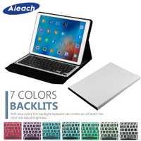 Teclado inteligente funda para iPad Air, iPad Pro 12,9, 2017, 2015, 7 colores de luz teclado Bluetooth inalámbrico para iPad Pro 12,9 Funda