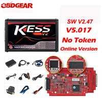En línea V2.47 UE rojo Kess V2 V5.017 OBD2 Manager Kit de ajuste KTAG V7.020 4 LED ninguÌ n marco BDM K-TAG 7.020 ECU programador