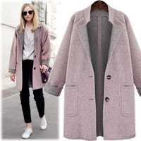 Las mujeres de Nueva Otoño Invierno moda más tamaño suelta solo Breasted bolsillos sólido de lana mezclas Coat para las mujeres más grande abrigo