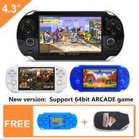 Nueva consola de videojuegos portátil pulgadas de 4,3 pulgadas 64bit 8 GB, consola de videojuegos portátil, juego integrado en 1395 para arcade gba snes nes gbc smd