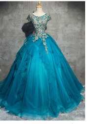 100% real azul Pavo Real bordado princesa vestido medieval vestido renacimiento Victoria gótico LOL/Marie Antoinette Belle bola