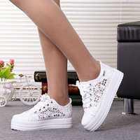 Lzzf moda coreana zapatillas blancas zapatos mujer plataforma transpirable Casual mujeres Vulcanize zapatos más tamaño grande