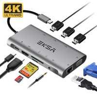 EKSA Hubs USB 10 en 1 USB-C con 4 K HDMI Puerto USB 3,0 SD/TF tarjeta lector VGA RJ45 Gigabit Ethernet tipo C para Macbook Pro