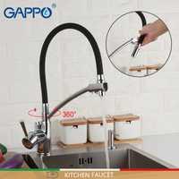 GAPPO cocina grifo de cocina grifo negro sacar mezclador Monomando de cocina montada cubierta de agua grifo mezclador solo manejado grifos