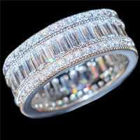 Choucong joyería de lujo 10KT llena de oro blanco cuadrado pavimentar la Zircon CZ piedra coctel boda banda anillos para las mujeres