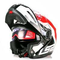 LS2 luz estroboscópica de la motocicleta del Casco de la Modular Flip Up Capacete Casque Casco abierto Moto timón Kask de cara completa gira cascos de Moto
