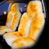 GLCC frente del coche de la cubierta de asiento de piel de oveja cojín largo lana Natural de 54*13 cm invierno cálido alfombra auto Interior Accesorios