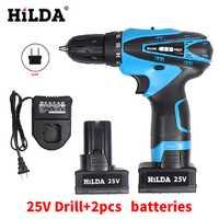 Hilda25v luz LED inalámbrico Destornilladores Taladros eléctricos de dos velocidades recargable 2 unids litio Baterías impermeable Taladros eléctricos