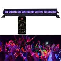 Iluminación de escenario púrpura activada por voz para DJ lámpara de discoteca proyectores láser hogar UV barra Led con mando a distancia