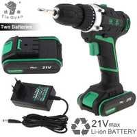 Inalámbrico recargable 21 V Plus taladro eléctrico destornillador herramientas con 2 de la batería de litio y rotación interruptor de ajuste