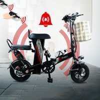 Qi Li bicicleta eléctrica pequeña plegable adultos hombres y mujeres viaje mini batería coche batería de litio conducción scooter