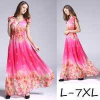 2019 estilo europeo cuello V plus tamaño impreso vestido de gasa de verano de las mujeres de gran tamaño vestido largo 6XL 7XL floral impresión de vestido