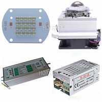 30 W 50 W COB 365nm 385nm 395nm 410nm curado UV Ultra violeta de alta potencia COB LED + conductor + disipador + refrigerador + reflector