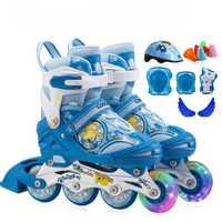 4 grado Ajustar tamaño niños patines en línea, rueda de la PU niños patines con ABEC-7 rodamiento, rueda delantera flash niños patines zapatos