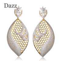 Dazz 2018 moda grande ahueca hacia fuera la boda Pendientes completo Diamantes con piedras falsas forma de la flor grande Pendientes de gota Mujeres Partido oído Accesorios