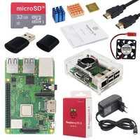 Original Raspberry Pi 3 Modelo B + Plus UK hecho Kit pulgadas pantalla táctil de 3,5 + carcasa + potencia + 32 GB SD + HDMI + disipador térmico + Cable USB